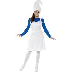 Tuinkabouter kostuum vrouw blauw