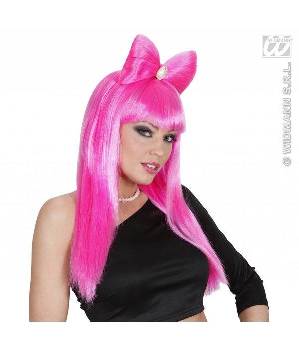 Pruik Glamrock met strik roze