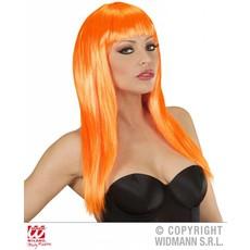 Langharige pruik oranje