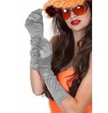 Gala handschoenen satijn zilver 40 cm