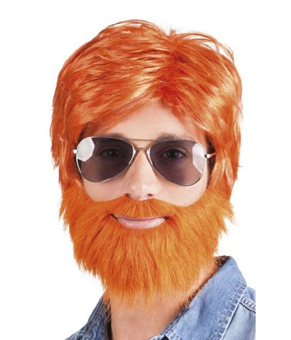 Pruik met baard oranje