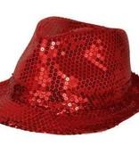 Gangsterhoed pailletten rood