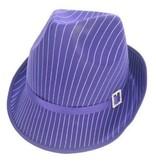 Gangsterhoed streep glans paars
