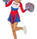Cheerleader jurkje vrouw rood-wit-blauw