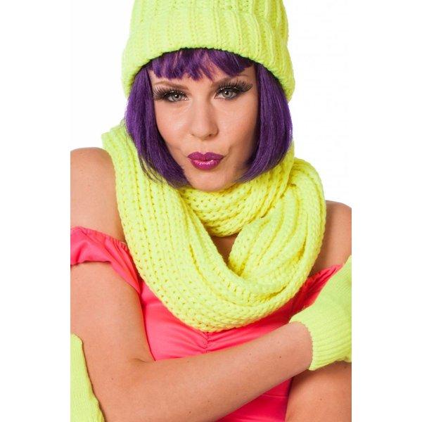 Sjaal rond neon geel