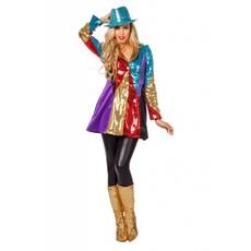 Multikleur jas pailletten vrouw