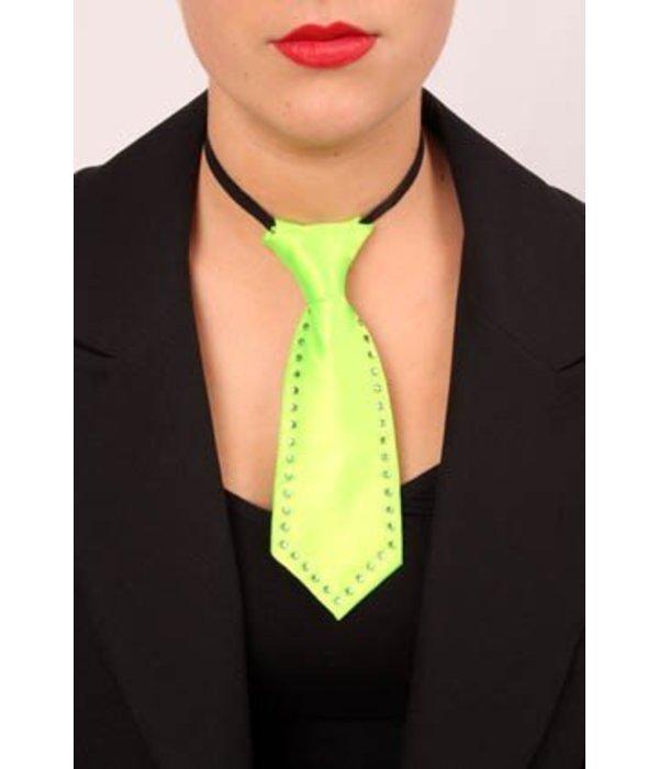 Mini stropdas fluor groen met strass steentjes