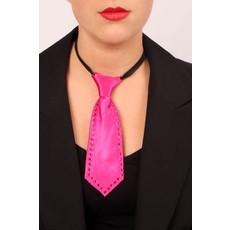 Mini stropdas pink met strass steentjes