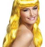 Pruik lang haar chique geel
