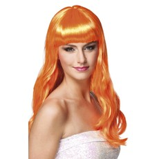 Pruik lang haar oranje