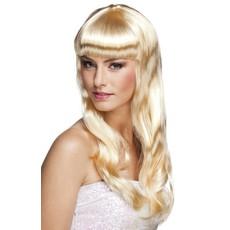 Party pruik lang haar chique blond