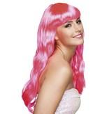 Pruik lang haar pony roze Chique