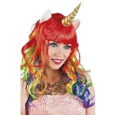 Pruik Unicorn met hoorn en oortjes