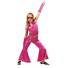 Disco jumpsuit kind roze