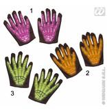 Skelet handschoenen kind 3D Neon