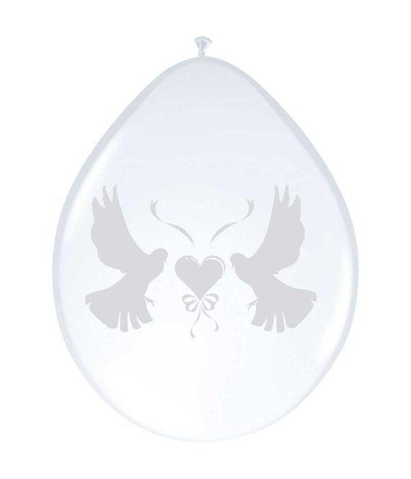 Ballonnen duifjes (8 st) metallic