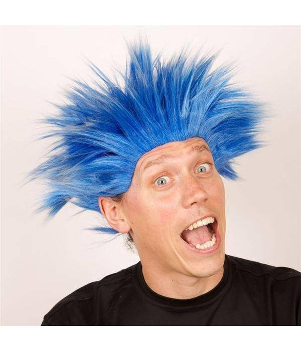 Pruik Electric shock blauw