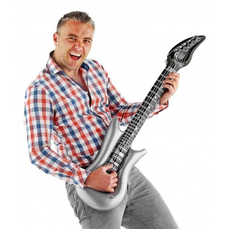 Opblaasbare gitaar zilver