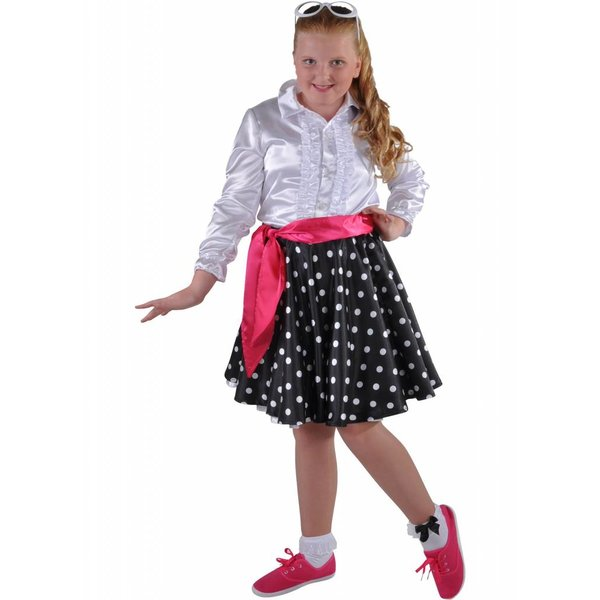Rock en Roll rokje Grease kind zwart elite