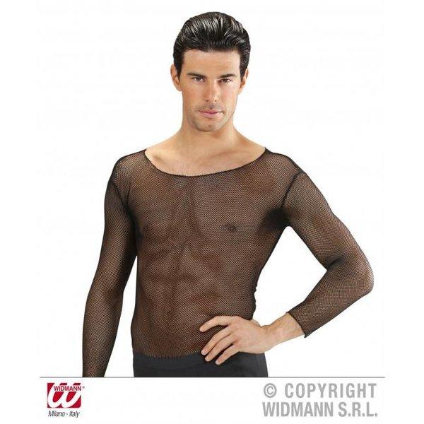 Heren visnet shirt zwart