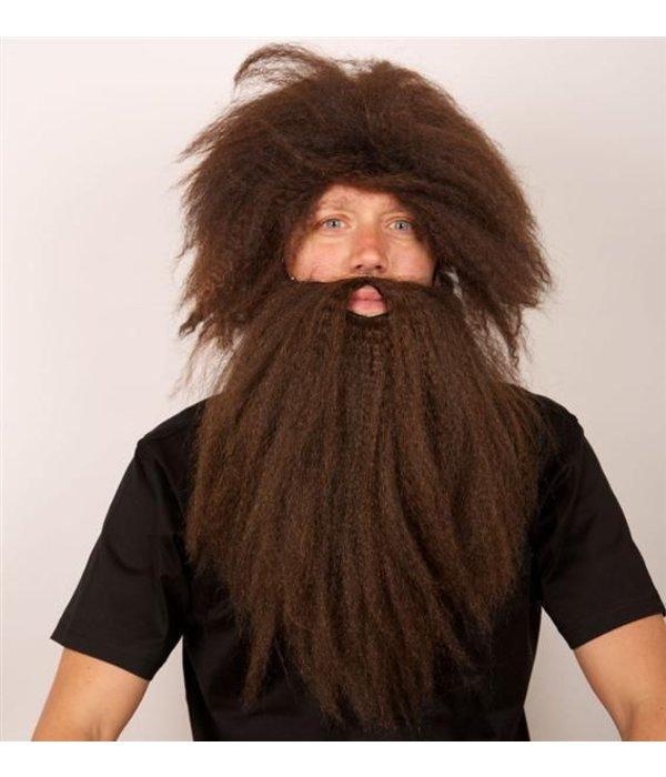 Pruik Holbewoner + baard bruin