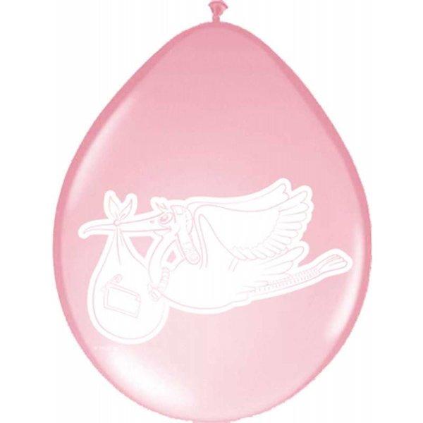 Roze ooievaar ballonnen - 8 stuks