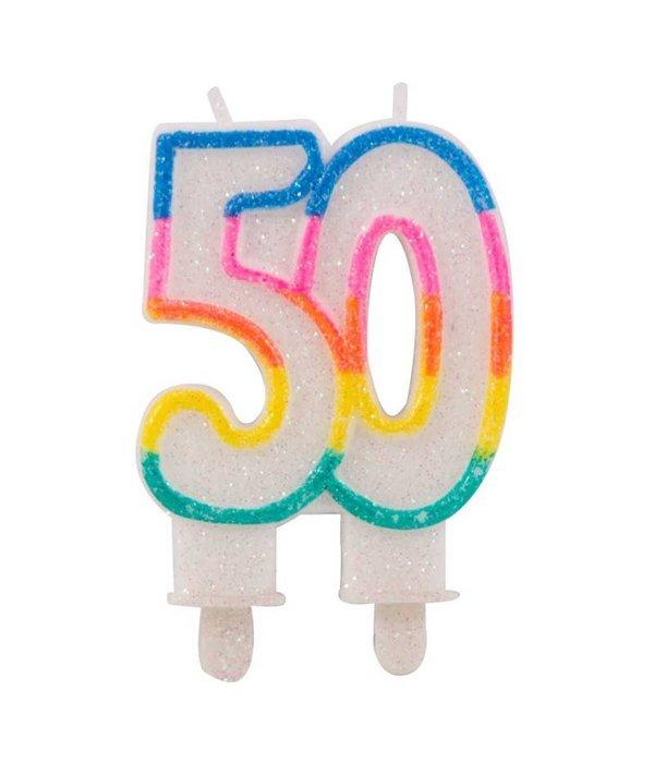 Glitter taart kaars 50 jaar