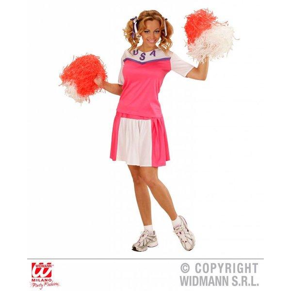Cheerleader pakje dames roze/wit
