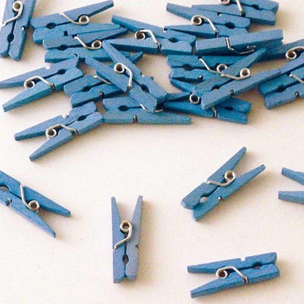 Mini knijpers hout blauw 24 stuks
