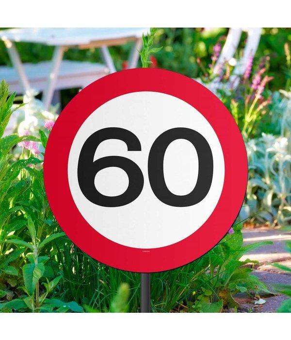 60 jaar verkeersbord tuinbord for Decoratie 60 jaar