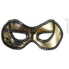 Oogmasker zwart/goud met kant op ogen