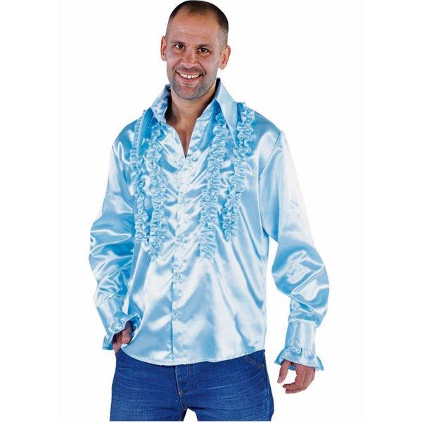 Blouse disco ruches populair blauw