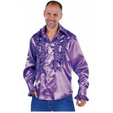 Blouse disco ruches populair paars