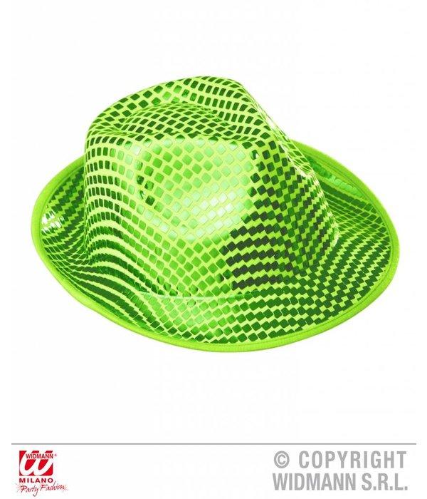 Fedora hoed vierkante pailletten groen