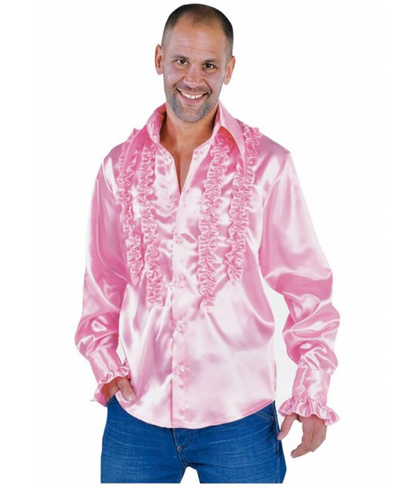 Blouse disco ruches populair roze