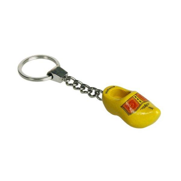 Sleutelhanger 1 klompje geel 4cm