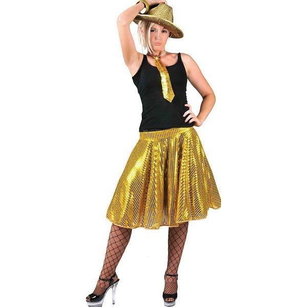 Disco rok glitter goud
