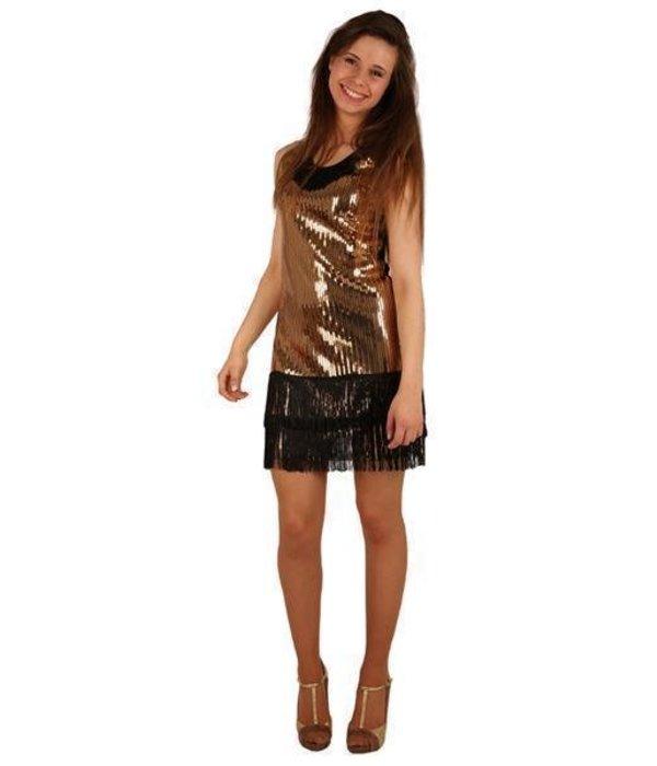 Disco toppers jurkje pailletten goud zwart for Goud zwart versiering