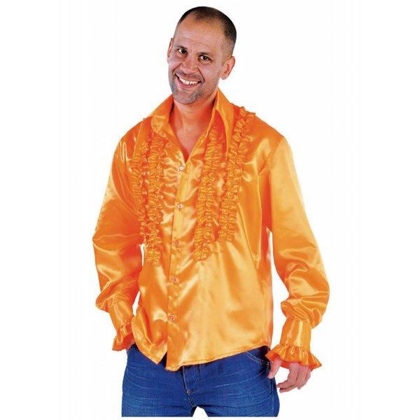 Blouse disco ruches populair oranje
