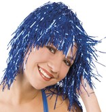 Lametta pruik blauw