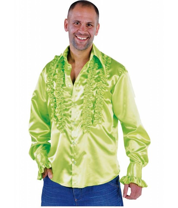 Rouches blouse fluor groen populair