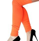 Dames knee-over beenwarmers fluor oranje