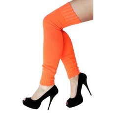 Dames knee-over beenwarmers fluor oranje