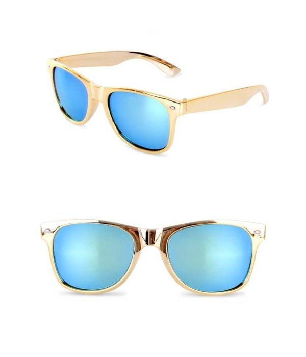 Blues brother bril goud met spiegelglas