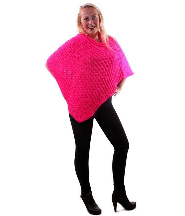 Poncho fluor pink gebreid