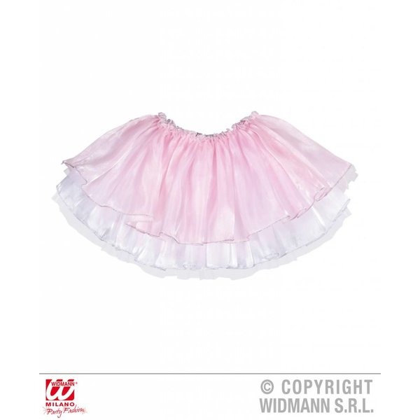 Tutu satijn met tule roze/wit kind 4 lagen