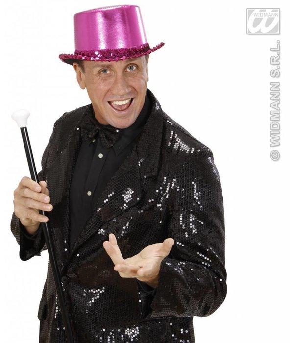Hoge hoed roze met paillettenband
