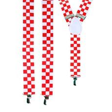 Bretel brabant rood/wit geblokt