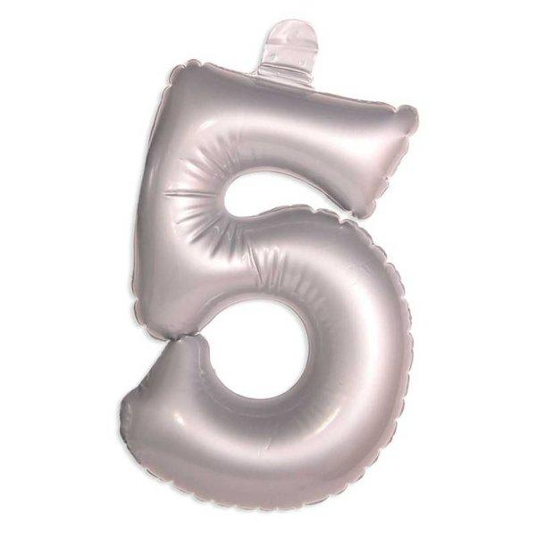 Opblaascijfer 5 zilver