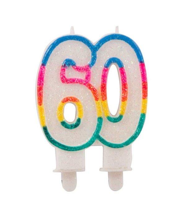 Glitterkaarsje met houder 60 jaar